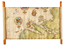 Old map. Old pirate map as a scroll on wooden sticks isolated Royalty Free Stock Photography