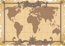 Old map. Vector illustration - old map background stock illustration