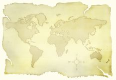 Old map. Of the world in yellow royalty free illustration