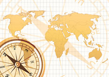 Old map. Old world map with compass in grid background vector illustration