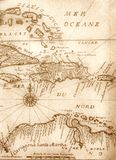 Old map. Handwritten ancient map of Caribbean basin from the book of 1678 Stock Photography