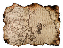 Old map. Old nautical map with burned edges isolated on white Stock Images