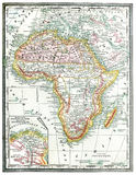 Old Map of Africa. Original map of Africa, line colored, printed in 1890 Stock Photos