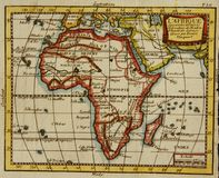 Old map of Africa. Old, antique map of Africa engraved by Claude Buffier and published in 1749 Royalty Free Stock Photos
