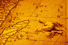 Old Map of Africa Madagascar With Sea Monster Royalty Free Stock Images