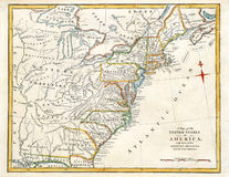 Old Map of America. Royalty Free Stock Images