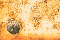 Old map with an ancient compass Royalty Free Stock Photo