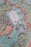 Old 1945 Map of Arctic Regions, including Greenland Stock Photos