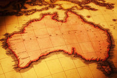 Old Map of Australia. Ancient map of Australia, named as New Holland. Map is from 1818 and is out of copyright Royalty Free Stock Image