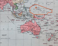 Old 1945 Map of Australia, Far East. Detailed Old 1945 Map of Australia, Far east, New Zealand Islands including Indian and Pacific oceans. Main railway and Royalty Free Stock Photo