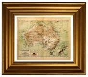 Old map of Australia. Kiev, Ukraine – Dec. 27, 2017. Illustrative editorial framed image of the old map of Australia, circa 1898 Stock Photo