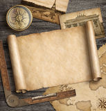 Old map background with compass. Adventure and travel concept. 3d illustration. Stock Images