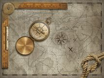 Old map background with compass, rope and ruler. Adventure and travel concept. 3d illustration. Stock Photos