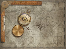 Old map background with compass and ruler. Adventure and travel concept. 3d illustration. royalty free stock photo
