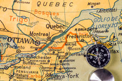 Old map of Canada in an spanish school Royalty Free Stock Photos