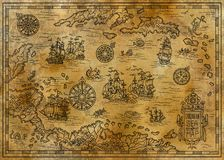 Old map of the Caribbean Sea with decorative and fantasy elements, pirate sailing ships, compass. Pirate adventures, treasure hunt and old transportation concept Royalty Free Stock Image