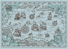 Old map of the Caribbean Sea with pirate ships, treasure islands, fantasy creatures. Pirate adventures, treasure hunt and old transportation concept. Hand drawn Royalty Free Stock Photography