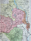 Old 1945 Map of central African states including Rhodesia and Belgian Congo. Stock Images