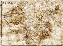 Old map of China. Old grunge map of China. In Chinese language Stock Image