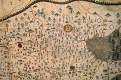 Old map. The close-up of Chinese archaic map Royalty Free Stock Photography