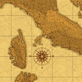 Old map with compas and islands Royalty Free Stock Photo
