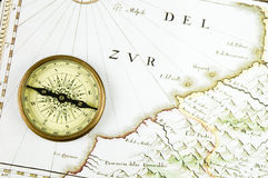 Old map and compass Royalty Free Stock Images