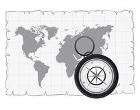 Old map and compass. Black and white compass over old map. vector illustration Stock Image
