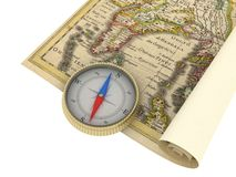 Old Map and Compass. Isolated on white Royalty Free Stock Photos