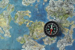 Old map and compass Royalty Free Stock Image