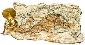 Old map with compass Stock Images