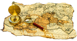 Old map with compass Royalty Free Stock Images