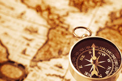 Old map and compass Stock Photos