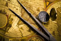 Old map with compass Stock Photos