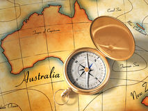 Old map and compass. Compass and vintage map showing Australia and part of Oceania. Digital illustration Stock Photography