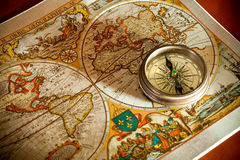 Old Map and Compass Concepts. Vintage Old Map and Compass Concepts Royalty Free Stock Photo