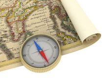 Old Map and Compass Isolated. On white Royalty Free Stock Photography