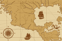 Old map with a compass and ships Stock Photos