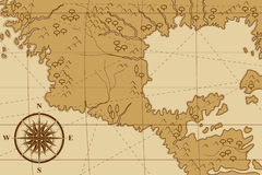 Old map with a compass and trees Stock Images