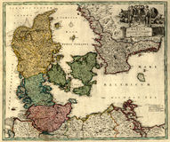 Old map of Denmark Royalty Free Stock Image