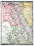 Old map of Egypt. Original map of Egypt and Nubia, line colored, printed in 1890 stock photos