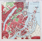 Old 1945 Map of the Environs of Copenhagen, Denmark. Royalty Free Stock Images