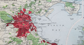 Old 1945 Map of the Environs of Dublin, Ireland. Stock Photo