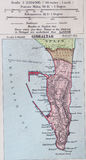 Old 1945 Map of the Environs of Gibraltar, Great Britain. Stock Photography