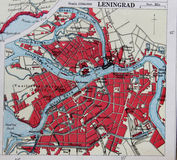 Old 1945 Map of the Environs of Leningrad, Russia. Stock Photography