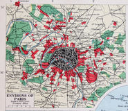 Old 1945 Map of the Environs of Paris, France. Detailed Old 1945 Map of the environs of Paris, France, includes principal travel networks Stock Image