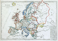 Old map of Europe,. Early, colored, original map of Europe, printed in France in 1785 Stock Photos