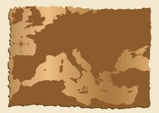 Old map of Europe. With Mediterranean Sea Stock Images