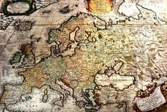 Ancient map of Europe stock photography