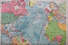 Old 1945 map of Europe and North America. Showing main transport use Royalty Free Stock Image