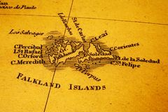 Old Map Falkland Islands Malvinas. Old map of the Falkland Islands or Malvinas. Map is from 1817 and is out of copyright stock images